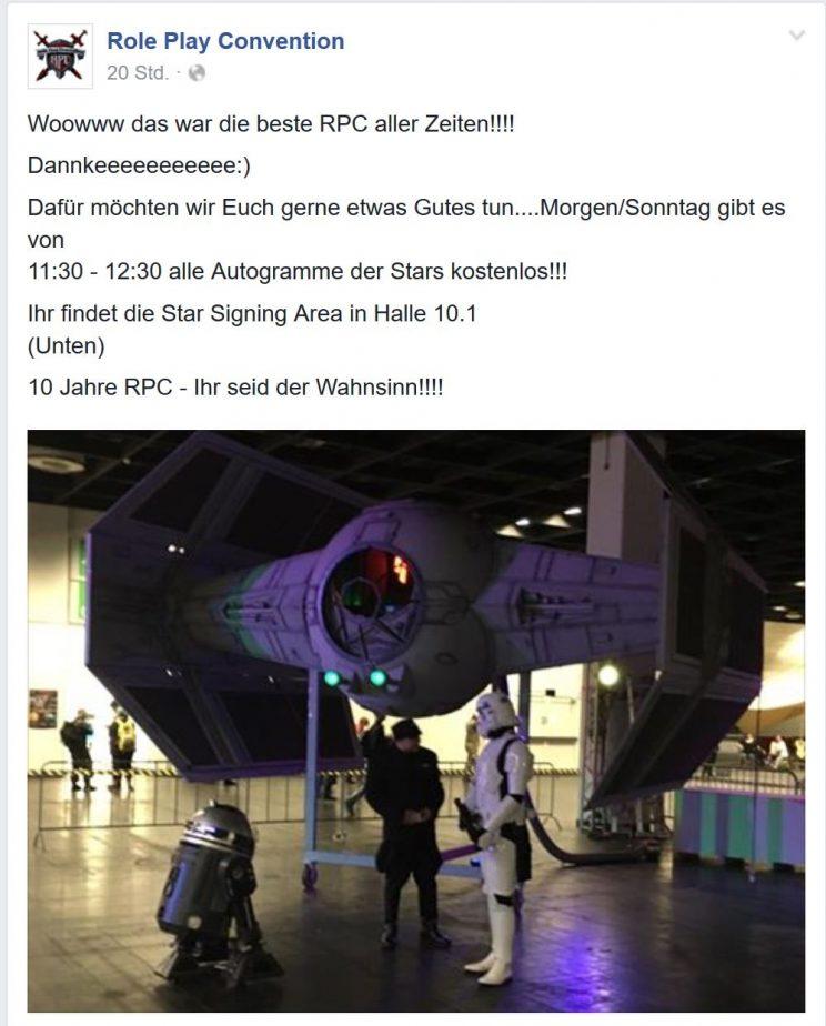 Facebook Post der RPC von Samstag